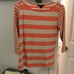 Tops - Cream and coral long sleeve shirt